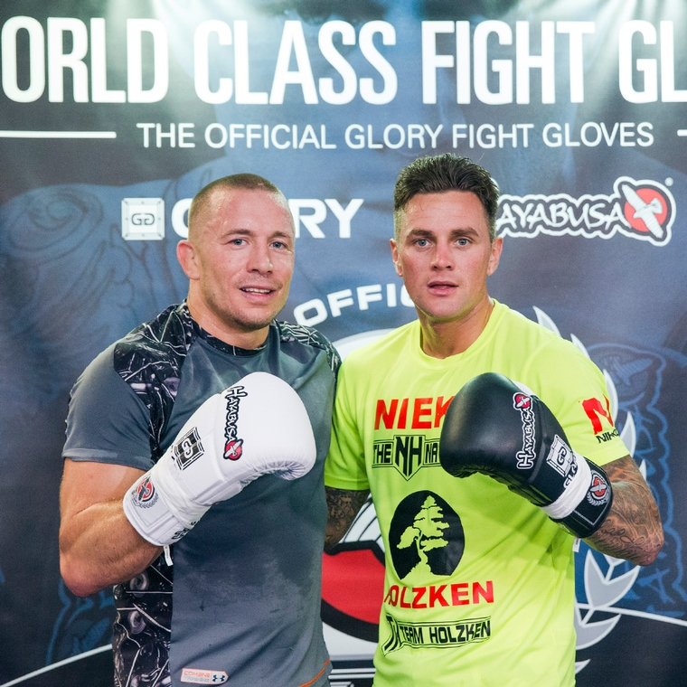 Georges St-Pierre and Nieky Holzken at Glory  event