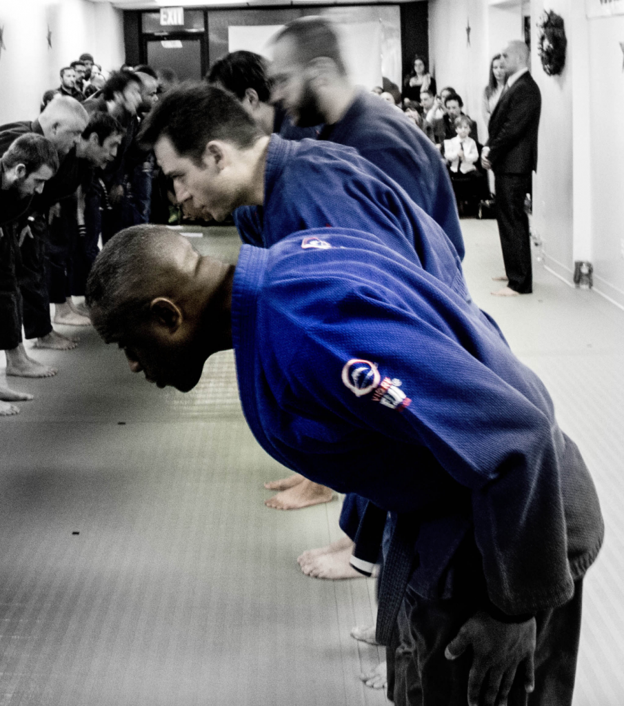 Bowing before you step onto the mats