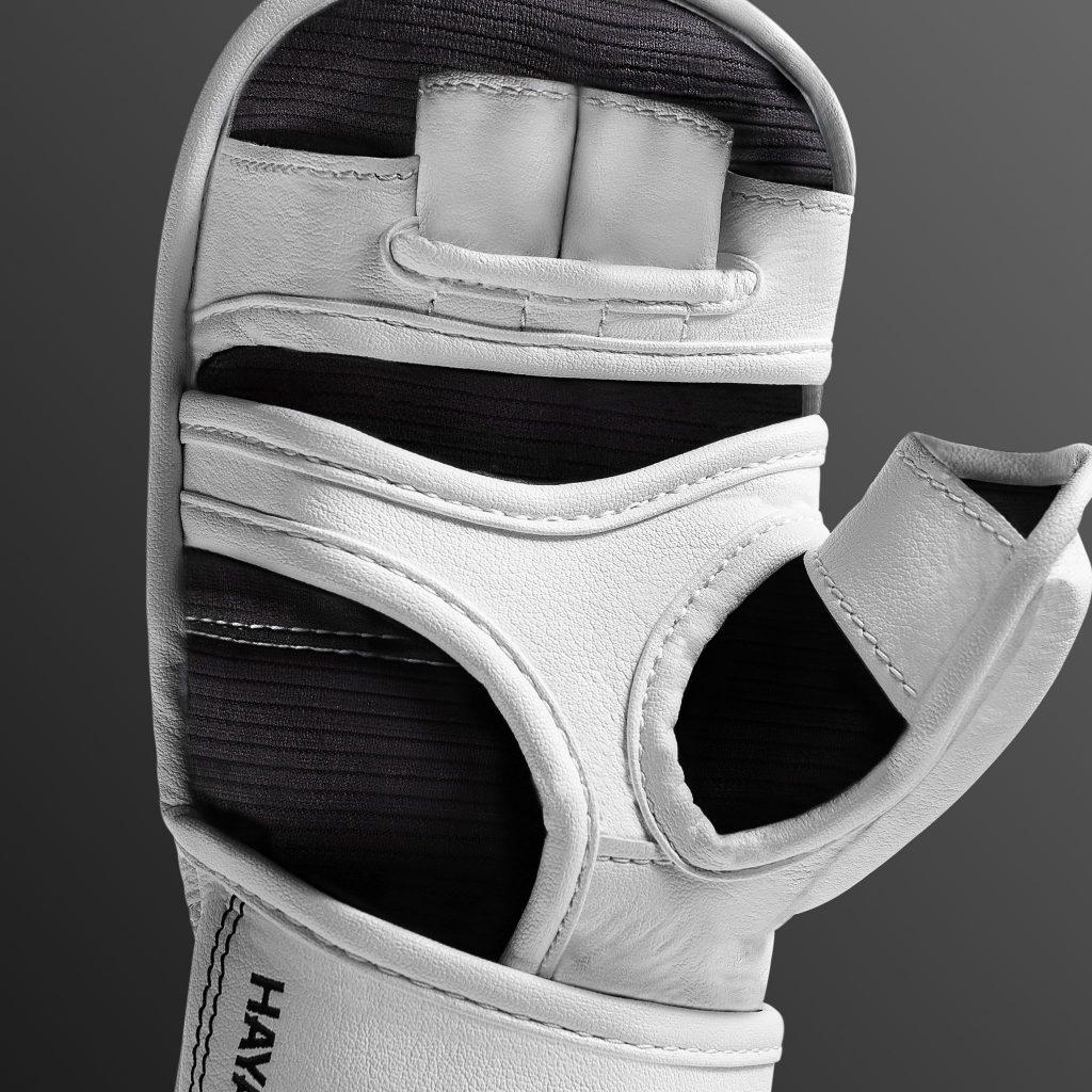 Y-Volar design on the white T3 7oz gloves